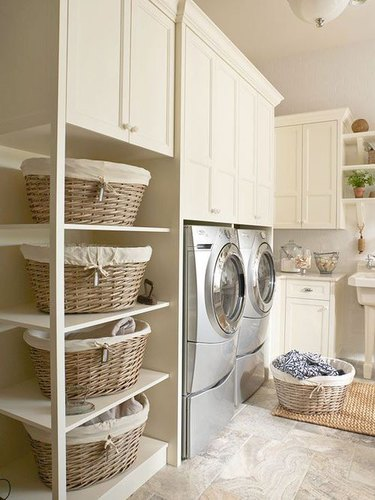 Modern Laundry Room with Shelving