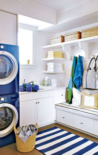Blue and White Laundry Room