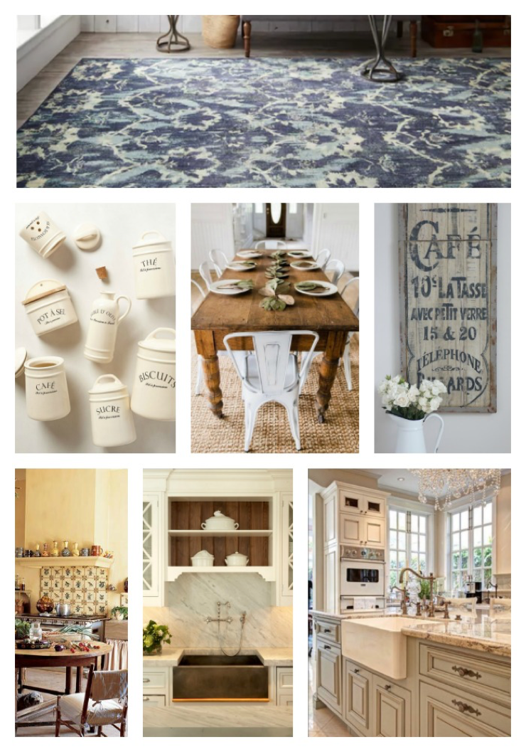 french country kitchen, moodboard